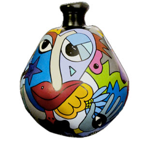 dame jeanne réalisée par sofi, artiste peintre dans le 66, artiste peintre Perpignan. POur des créations uniques et des créations colorées.