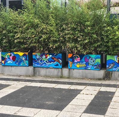 décoration d'un restaurant à Perpignan dans le 66 par Sofi, artiste peintre français - Boniface coquillages
