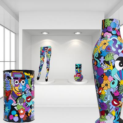 oeuvres d'art réalisées par Sofi artiste peintre pour des objets déco design et colorés, des pièces uniques, tableaux et sculptures