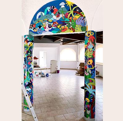 décoration d'un restaurant dans les PO pour le camping le Calypso à Torreilles, pour des vacances colorées