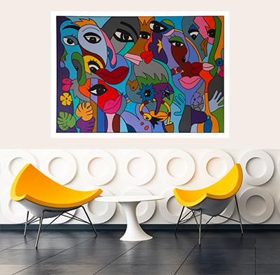 tableau artiste française coloré et design pour une décoration d'intérieur unique par Sofi, artiste designer Française