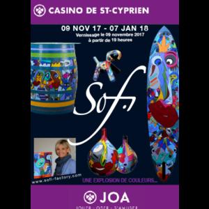 exposition dans galerie d'art à Saint Cyprien , dans les Pyrénées orientales de Sofi artiste peintre France