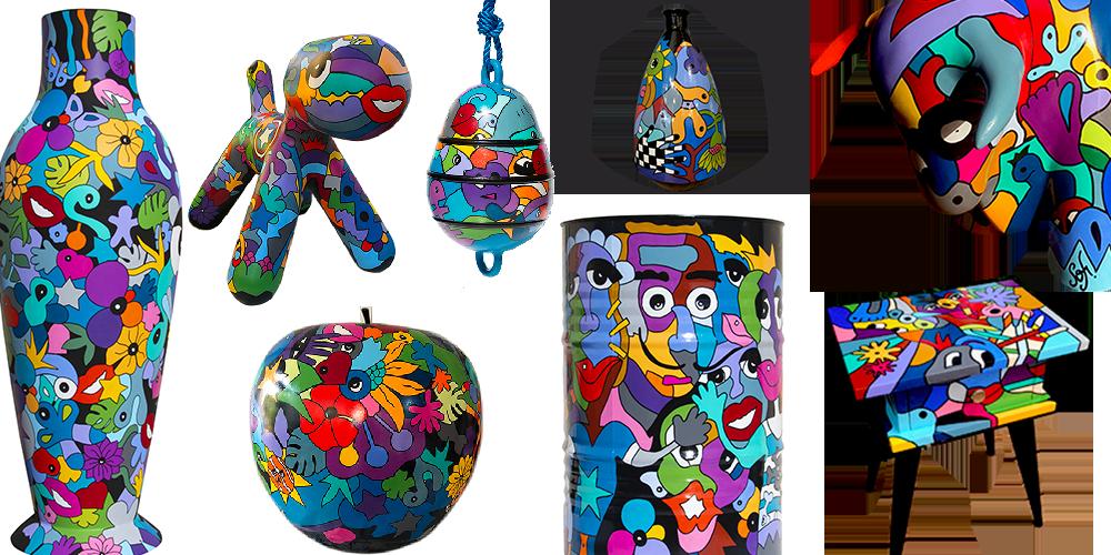 créations artistiques d'objets déco pour déco d'intérieur, objets déco colorés, pièces unique par Sofi artiste peintre dans le 66