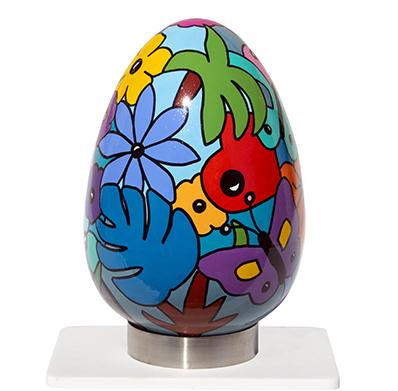 oeuf en céramique coloré, oeuvre d'art réalisée par Sofi, artiste design - objets déco créateur - Style Nikki de Saint Phalle - oeuvres uniques - pièce unique |Livraison possible