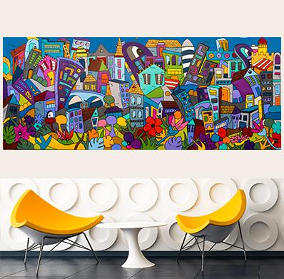 tableau artiste française coloré et design comme Nikki de Saint Phalle pour une décoration d'intérieur unique par Sofi, artiste designer Française