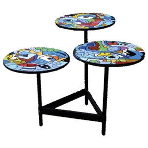 table gigogne 3 plateaux en pièce unique design et originale réalisée par Sofi artiste deisginer