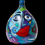 dame jeanne ou bonbonne verre réalisée par sofi, artiste peintre dans le 66, artiste peintre Perpignan. POur des créations uniques et des créations colorées.