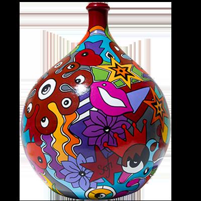 rare dame jeanne ou bonbonne verre 80l. réalisée par sofi, artiste peintre dans le 66, artiste peintre Perpignan. POur des créations uniques et des créations colorées.