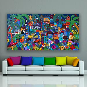 très grand tableau coloré 195 x 97 cm sur le thème de la ville par Sofi artiste peintre designer dans les PO