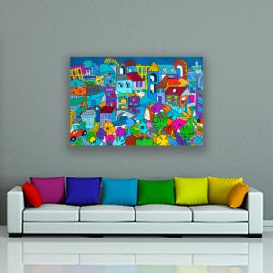 Grand tableau coloré 120 x 80 cm sur le thème de la ville par Sofi artiste peintre designer dans les PO