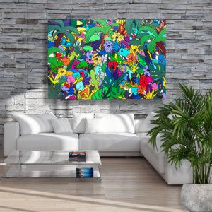 très grand tableau coloré 147 x 97 cm sur le thème tropiques par Sofi artiste peintre designer dans les PO