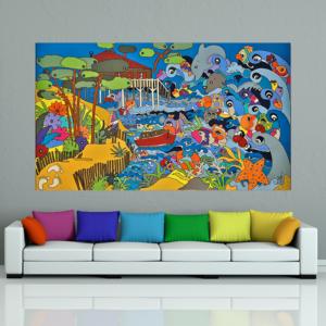 tableau coloré par Sofi artiste designer à Perpignan dans les pyrénées orientales 66 sur le paysage landais et l'ocean landais. Thème les poissons colorés