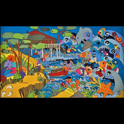 tableaux poissons colores - tableau coloré par Sofi artiste designer à Perpignan dans les pyrénées orientales 66 sur le paysage landais et l'ocean landais.