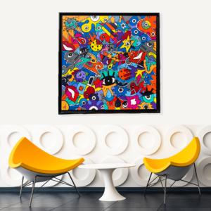 tableau moderne et design pour une décoration intérieure à la mode et tendance réalisé par Sofi, artiste peintre France - art deco