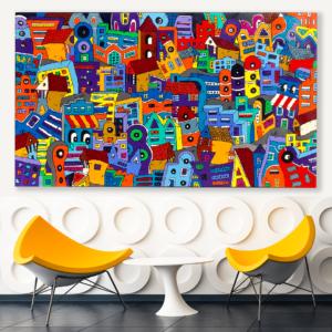 Toile, Tableau ville colorée, tableau design sur la ville par Sofi, artiste peintre France dans les pyrénées orientales, 66.