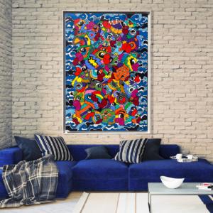 Toile, tableau design décoration bord de mer et poissons original et design. tableaux colorés de Sofi, artiste peintre France dans le 66