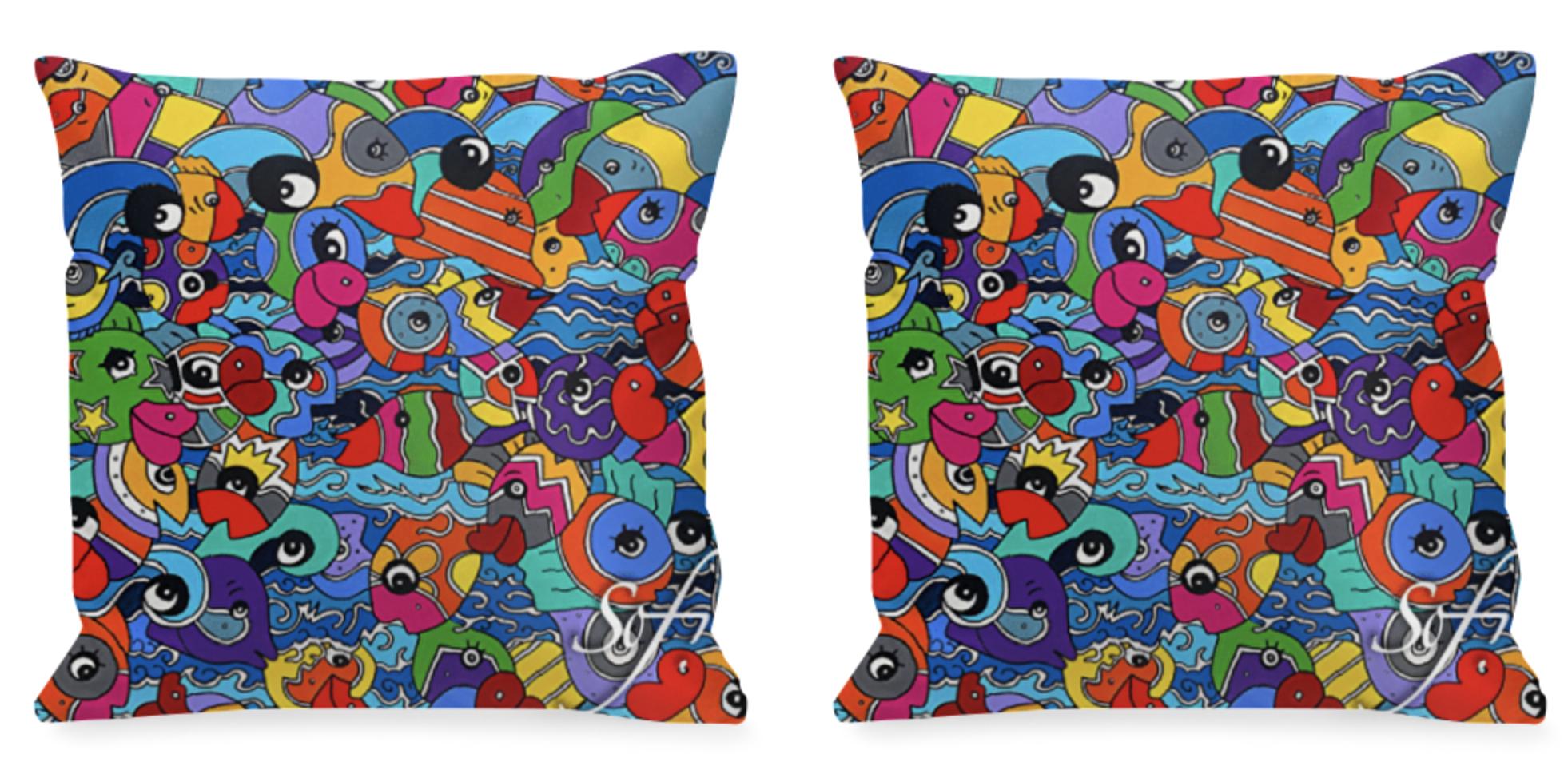 coussins carrés colorés réalisés par Sofi, artiste peintre France dans les Pyrénées Orientales - Objet déco et tendance coussins colorés en satin