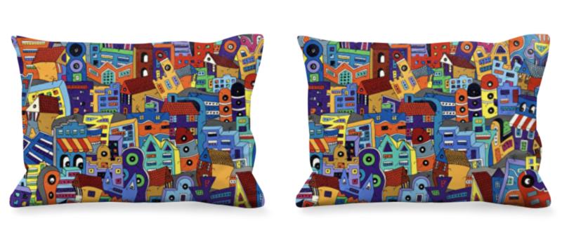 coussins rectangulaires colorés réalisés par Sofi, artiste peintre France dans les Pyrénées Orientales - Objet déco et tendance coussins colorés en satin