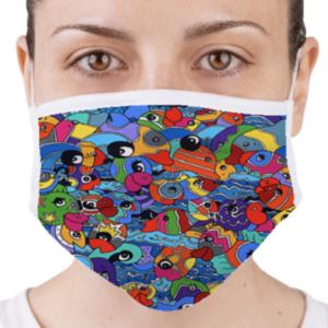 Masque de protection homologué - lavable en tissus - covid 19 - coronavirus par Sofi, artiste designer dans les pyrénées orientales 66