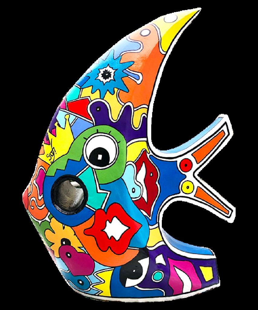 poisson coloré, pour votre décoration d'extérieur. Objet déco pour votre jardin ou objet déco pour la piscine. Cette réalisation artistique colorée est en modèle unique pour une deco design de votre jardin.