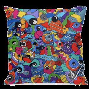 coussins carrés colorés ou coussins rectangulaires carrésréalisés par Sofi, artiste peintre France dans les Pyrénées Orientales - Objet déco et tendance coussins colorés en satin