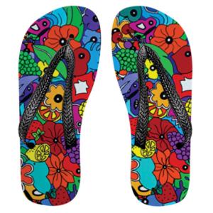 tong, claquette, colorées et customisées par sofi, artiste designer