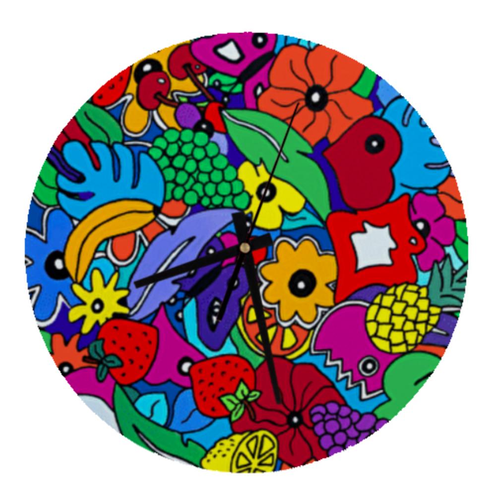 Horloge murale pour les cadeaux de noel colorés ou cadeaux d'anniversaire originaux par Sofi artiste peintre dans le 66 France
