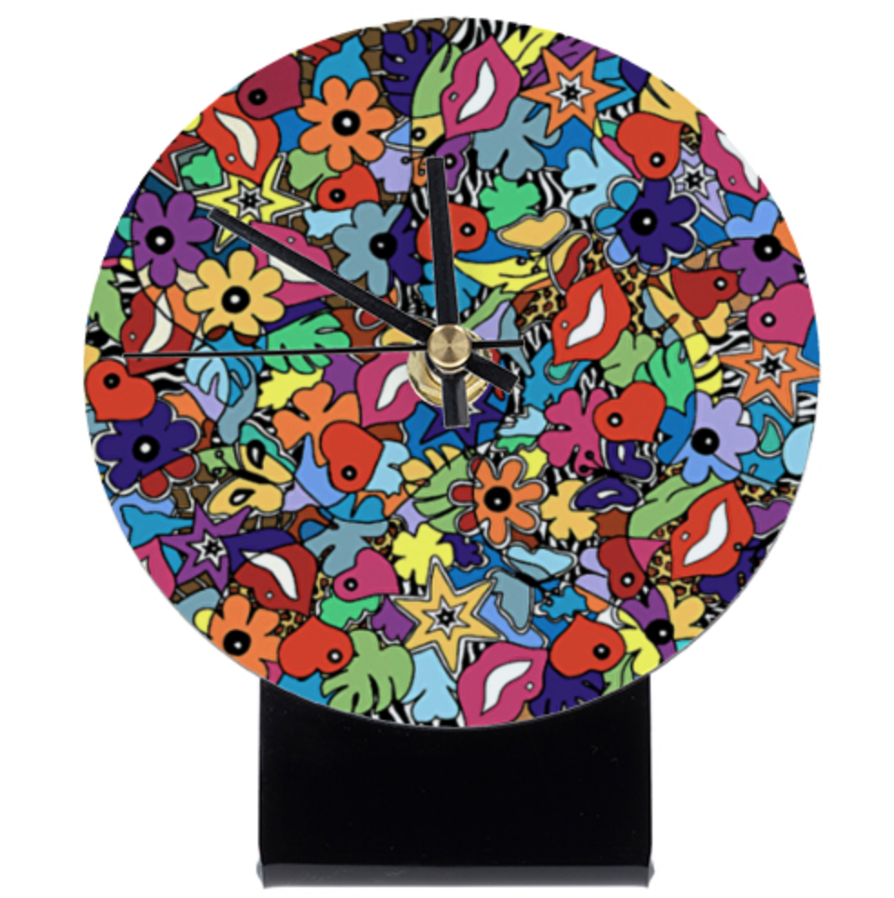 horloge de table, cadeau de noel original et coloré par Sofi, artiste peintre France