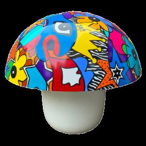 Lampe champignon, lampe à poser réalisée par Sofi, artiste peintre à Perpignan dans les Pyrénées Orientales 66